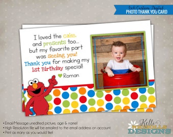Elmo Photo Thank You Note with Photo, Custom Sesame Street Thank You Card, Birthday Picture #B103-B