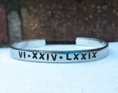 Roman Numeral Bracelet, Custom bracelet, Anniversary Bracelet, Birthday Bracelet Cuff Bracelet