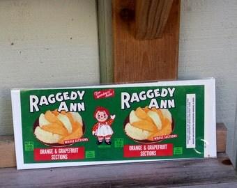 Vintage Raggedy Ann Fruit Label