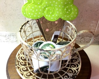 Quilted ICE CREAM CONE Mug Rugs . . . Unique Applique Desin . . . Chocolate Brown and Lime Green . . . Table Decor