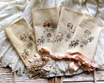 Vintage Lovely......French Hand Tinted Flapper Embroidery Squares