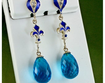 Fleur-de-Lis Earrings Long Earrings Blue Enamel Sterling Silver Dangle Drop Blue Crystal Egg Earrings on Post One of a Kind Jewelry Gift