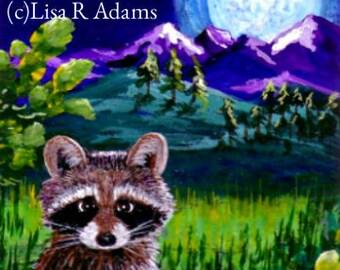 Raccoon Art Print of Original Painting ACEO Giclee Creationarts