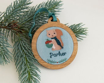 Personalized Holiday Ornament Hand Embroidered Squirrel Custom Holiday Keepsake 2016