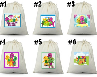 12 Barney and Friends birthday party favor candy loot treat drawstring bags