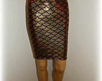mermaid pencil skirt gold   SAMPLE SALE