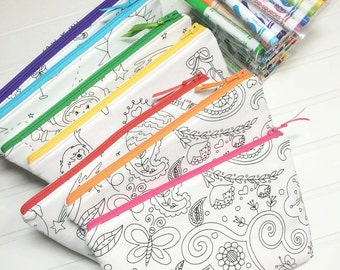 Color me pouch with washable markers - 6 different prints