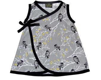Bird N Branch - Black And Grey Dress - Modern - Minimalist - Yellow and Grey - Toddler Dress - Conscious Children's - Girls Dress - 2t- 3t