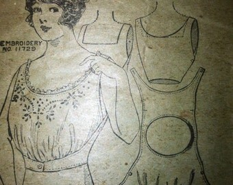 1900's Corset cover sewing pattern 1907 bust 34 vintage Titanic Downton Abbey era  No. 5525 turn of the century