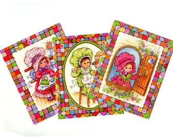 Vintage Holly Hobbie Style Cards Small Greeting Cards Cute Girl Patchwork Quilt Bright Colors 1970s Happy Birthday, Get Well, Vintage Paper