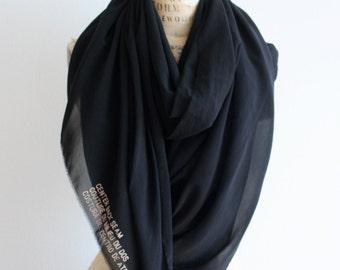 Sale, Black Silk Oversized Scarf, Fashion Accessories, Large Black Women's Scarf, Brooklyn