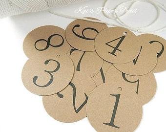 Kraft Rustic Wedding Table Numbers