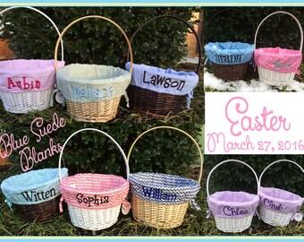 Monogrammed Easter Basket - Basket and Liner Movable Handle