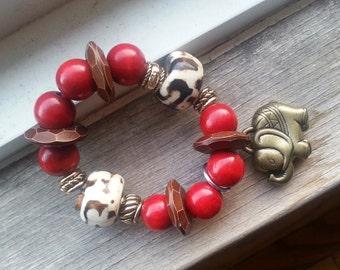 Beaded Bracelet, Charm Bracelet Wood and Bone Beads
