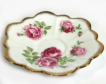 Vintage Rosina Saucer, Pink Roses, Scalloped Rim, Fluted Sides, Bone China, Made in England