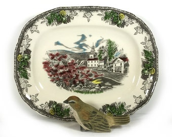"""Vintage 10.75"""" Oval Platter, Hand-Tinted Transferware, Country Colonial Landscape, Leaf/Flower Border,  Johnson Bros., Made in England"""
