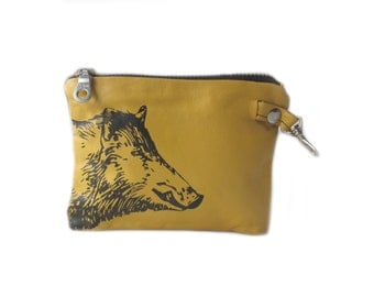 SALE leather wallet yellow wild boar screenprint