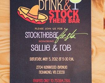 Stock the Bar Party Invitation | Wedding Shower Invitation | Fiesta Invitation | Digital Download