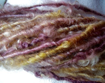 Handspun Soft Curly Bulky Weight Leicester Longwool Wool Art Yarn in Victorian Rose and Smoky Peach by KnoxFarmFiber for Knit Crochet Weave