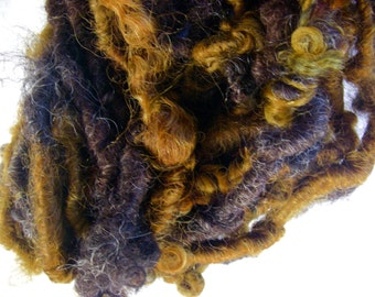 Handspun Corespun Curly Soft Wool Art Yarn in Natural Dark Brown with Copper Gold Curls by KnoxFarmFiber for Knit Crochet Weave Felt