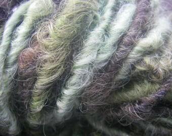 Handspun Lincoln Longwool Soft Curly Textured Bulky Wool Art Yarn Salad of Three Greens for Knit Felt Crochet Weave by KnoxFarmFiber