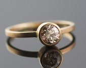 Old European Cut Diamond Set in Recycled 14k Yellow Gold By VK Designs in Portland, OR // Minimal Modern Bride