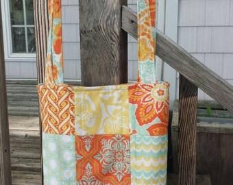 "Quilted purse handbag shoulder strap teal orange yellow ""citrus heirloom"" fabrics quiltsy handmade"