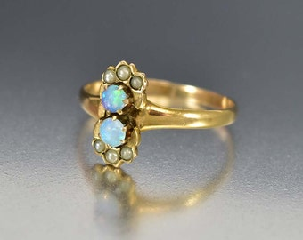 Victorian Opal Ring, Opal Engagement Ring, 14K Gold Antique Engagement Ring, Unique Engagement Ring, Victorian Ring, Antique Jewelry Pearl