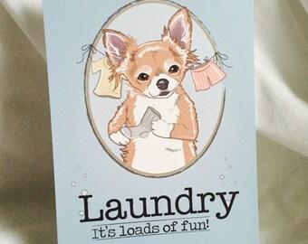 Chihuahua Laundry Print - 5x7 Eco-friendly Size