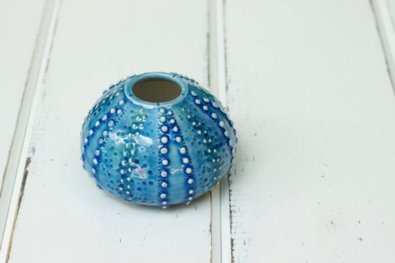 blue urchin bud vase