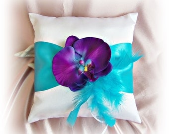 Wedding pillow purple and turquoise feathers and orchid flower, ring bearer pillow.