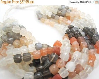 SALE Rainbow Moonstone Beads, Faceted Cubes, 3D Cubes, Peach Moonstone Bead, Multi Color Moonstone, Gray Moonstone, White Moonstone, SKU 355