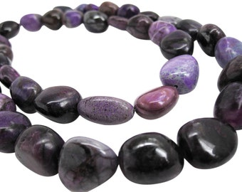 AA Sugilite Beads, 17mm x 19mm, Natural African Sugilite, Smooth Nuggets, Smooth Pebbles, SKU 3695A