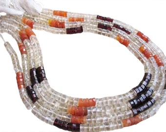 Multi Colored Beads, Multi Colored Stones, Carnelian, Citrine, Garnet, Faceted Heishi, Full Strand, SKU 2376A