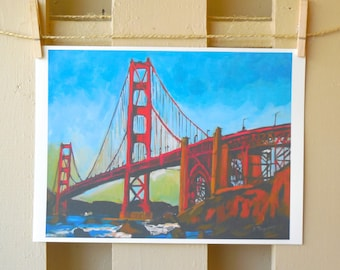 Golden Gate Bridge San Francisco Painting Art Print  Cityscape poster Painting by Gwen Meyerson