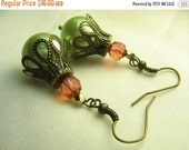 Green pearl earrings ... glass pearls with pink and gold glass beads ...  key lime truffle
