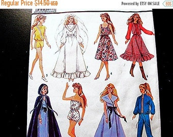 Sewing Pattern SALE Barbie Doll Clothes Pattern UNCUT FF Barbie Dresses, Wedding Gown, Cape, Shorts, Pants, Tops Doll Sewing Pattern