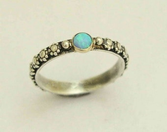 Thin ring, floral ring, opal ring, birthstone ring, gemstone ring, skinny silver ring, silver gold ring, two tones ring - Your desire R1286