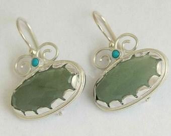 Gemstone earrings, green stone earrings, oval earrings, sterling silver earrings, green jade earrings, turquoise earrings - Sweet love E7754