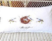 Pillow..Accent Pillow..Decorative Pillow..White Linen Pillow..Beach Cottage Style Pillow..Birds and The Nest Design..