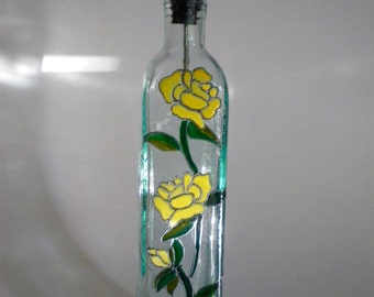 Olive Oil Bottle Yellow Rose of Texas  Hand Painted