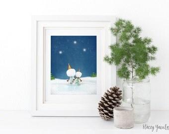 """art print - wall art - christmas wall art - christmas - winter - snowman - snowmen - starry night- """"Winter Wishes!"""""""