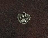 Paw heart charm, 16mm oval cast charm, cast zinc , made in USA 01346CS 3 each