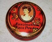 Vintage English Powder Tin Fascination Face Cameo Portrait Daher England Tole