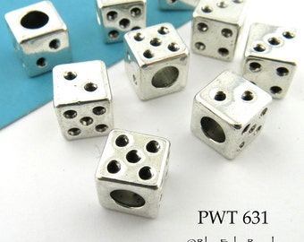 Large Hole Beads Pewter Dice 8mm (PWT 631) 6 pcs BlueEchoBeads