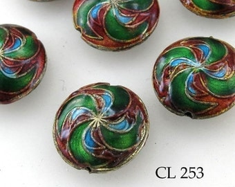ON SALE Cloisonné Beads Red Swirl Puffy Coin Bead 20mm (CL 253) blueecho 3pcs