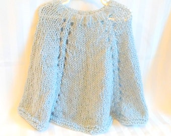Little Girl's Knit Poncho. Knit Cape. Light Silver Gray. Pearl Gray. Light Blue Gray. Children's Knit Poncho.Gifts for Girls. Sweater Cape.
