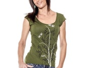 Clearance Sale Dragonflies t-shirt, Flora Cap Sleeve Olive Green Womens scoop neck-shirt, Gift for Her, Spring Fashion