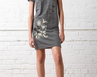 CLEARANCE SALE CLEARANCE Sale, Dandelions and Birds in Flight Women's T-shirt Dress, Dandelions Print Dress Eco Grey, Gift for Her