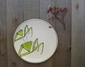 Ceramic green praying mantis plate, love bugs,  quirky funny gifT